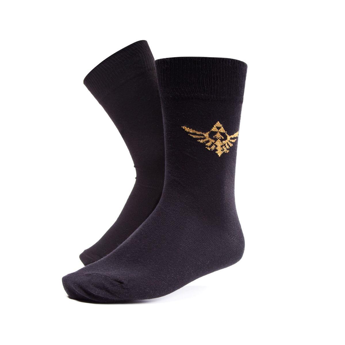 2022026-NINTENDO-Legend-of-Zelda-Royal-Crest-Crew-Socks-Male-39-42-Black-CR4