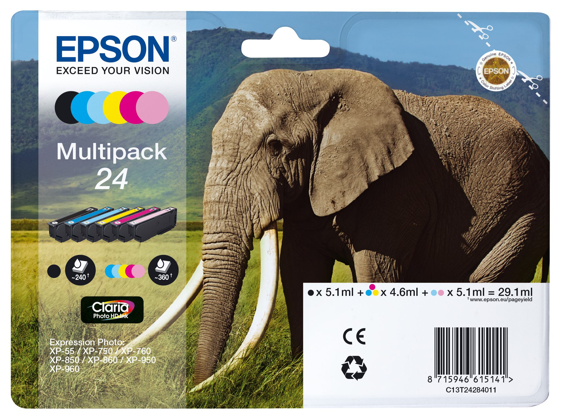 2022274-e-Elephant-Multipack-6-colours-24-Claria-Photo-HD-Ink-T24-MULTIPACK