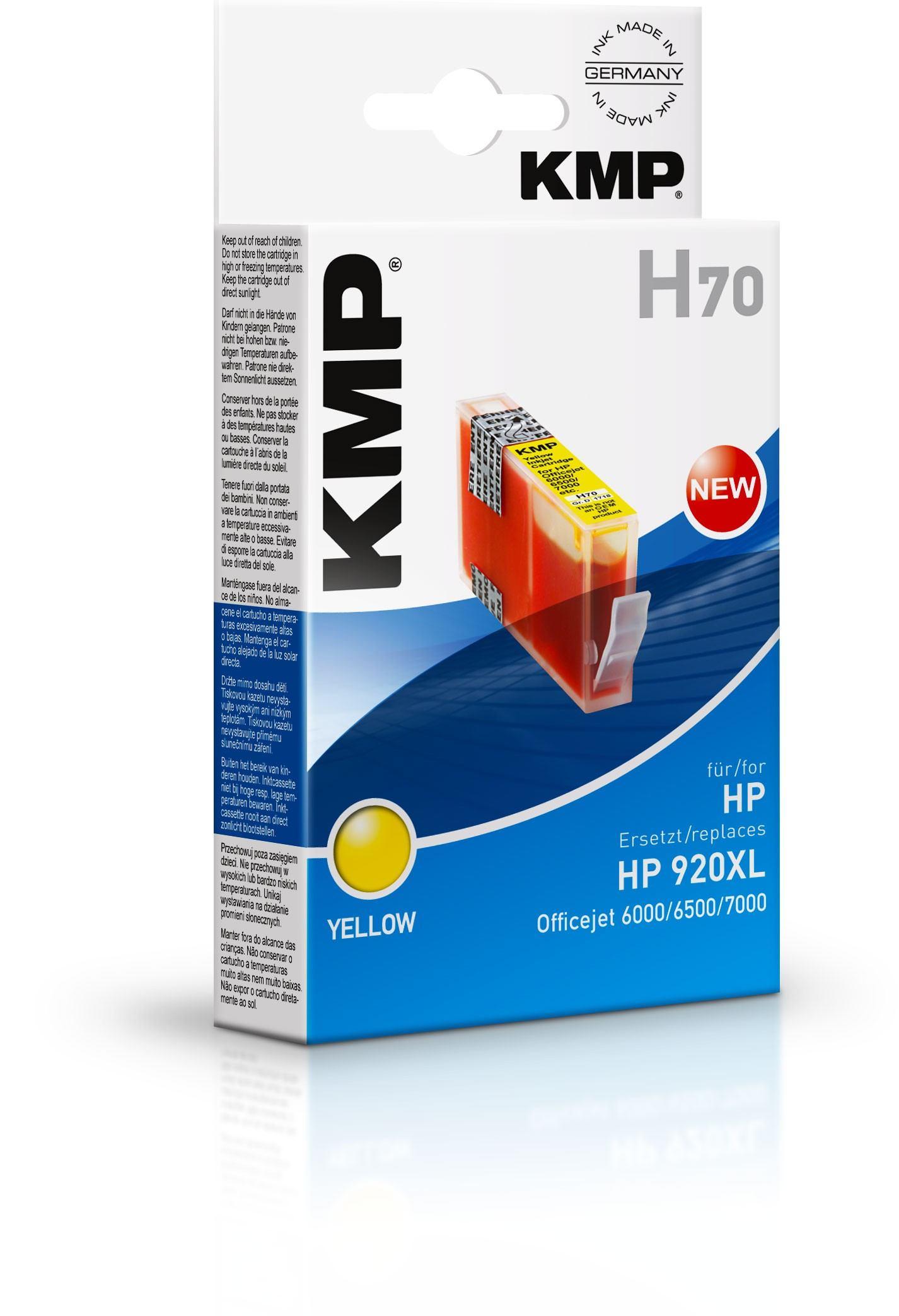 2022026-KMP-H70-cartuccia-d-039-inchiostro-Giallo-KMP-H70-13-ml-Gelb-Tintenpa