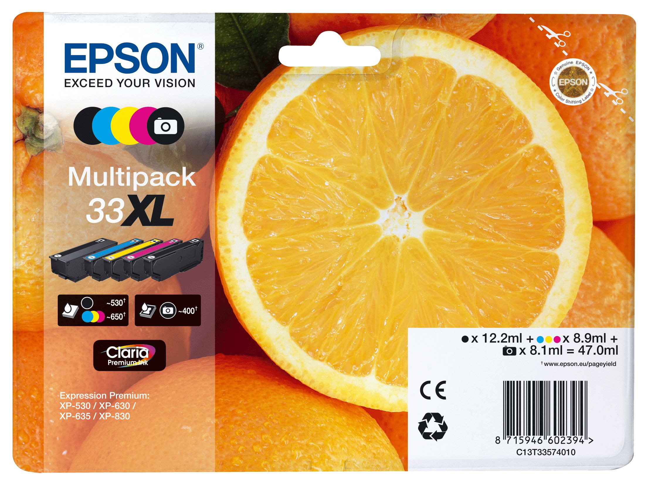 2022274-e-Oranges-Multipack-5-colours-33XL-Claria-Premium-Ink-33-XL-5-COLOURS