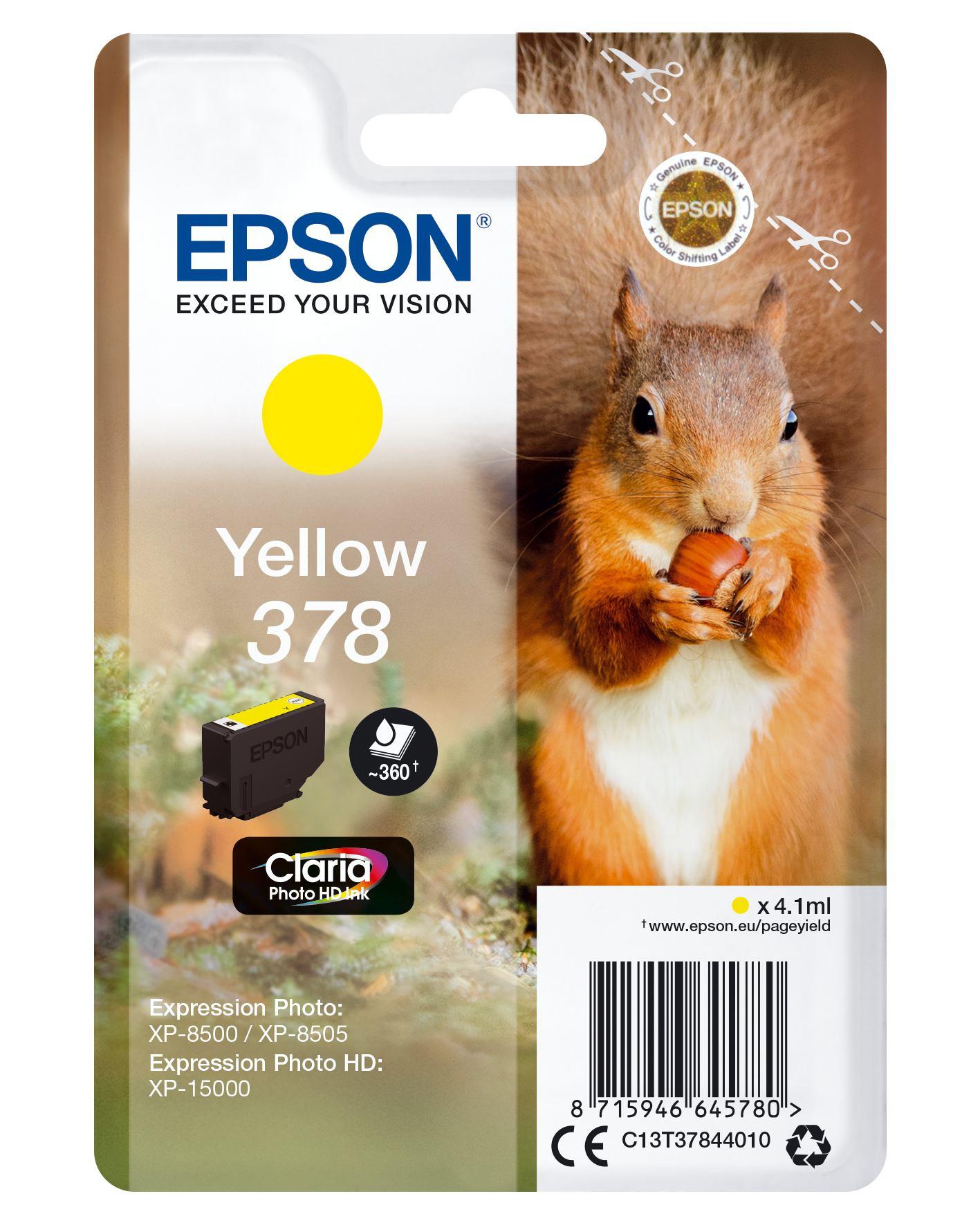 2465436-e-Squirrel-Singlepack-Yellow-378-Claria-Photo-HD-Ink-SINGLEPACK-YELLOW